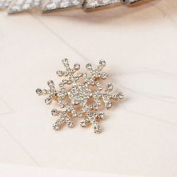 Arany - Arany Női ezüst strasszos kristály hópehely bross Pin esküvői menyasszonyi karácsonyi ajándék