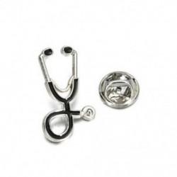 Ezüst - Ezüst 1db orvosi Unisex zománc sztetoszkóp Orvos nővér brossok Pin kabát Lapel jelvény