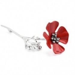 * 4 ezüst mák (8x2,8 cm) - * 4 ezüst mák (8x2,8 cm) Retro női zománc piros mák virág bross Pin Broach emlékezés