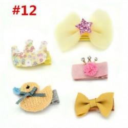 * 12 5Pcs / Set - * 12 5Pcs / Set 1 készlet gyerekek baba lány haj klipek készlet Bowknot virág szív korona fejfedők