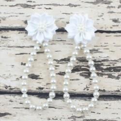 fehér - fehér Nyári csecsemő baba lány egy kiságy mezítláb gyűrű virág gyöngy gyerek cipő szandál