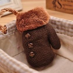 Kávé - Kávé Újszülött gyerekek téli meleg meleg kesztyű Lányok fiúk Stretchy kötött kötött ujjatlan ajándék