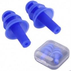 * 2 Kék Puha szilikon elleni zajhabos fül füldugók Újrafelhasználható komfortos úszás alvó munkapadhoz
