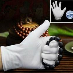 Fehér ellenőrző pamut munka magas stretch kesztyű Érme ékszer könnyű 1 pár Fehér ellenőrző pamut munka magas