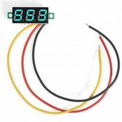 Kék Mini digitális feszültségmérő DC 0-100V LED panel feszültségmérő 3-digitális 3 vezetékkel