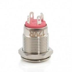 Piros Krómozott 4 érintkezős 12 mm-es LED könnyű nyomógomb pillanatnyi kapcsoló vízálló 12V