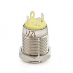 Sárga Krómozott 4 érintkezős 12 mm-es LED könnyű nyomógomb pillanatnyi kapcsoló vízálló 12V