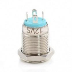 Kék Krómozott 4 érintkezős 12 mm-es LED könnyű nyomógomb pillanatnyi kapcsoló vízálló 12V