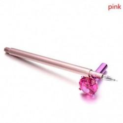 Rózsaszín golyóstoll - Fekete tintával - Köves díszítéssel - Iskolába - Kreatív íráshoz - Díszítéshez - 5