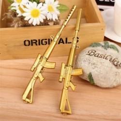 Arany színű hangtompítós puska alakú golyóstoll - Fekete tintával - Iskolába - Kreatív íráshoz - Díszítéshez - 10