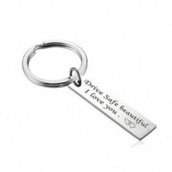 Biztonságos, szép, szeretem a yo ... Biztonságos meghajtó szükségem van rám Unisex DIY rozsdamentes acél kulcstartó