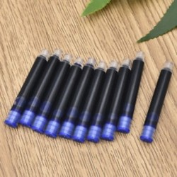 Kék 10db 20Pcs íróeszköz eldobható kék fekete töltőtoll tintapatron utántöltő