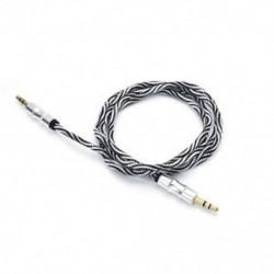 fehér 1M 3.5mm AUX Audio TRS Jack kábel Nylon hímzett csatlakozó sztereó autós telefonhoz