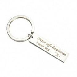 Rozsdamentes acél kulcstartó személyes üzenettel - ezüst színű