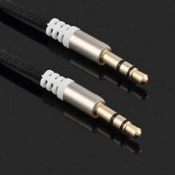 Fekete 3,5 mm-es férfi és férfi autós Aux kiegészítő kábel sztereó audiokábel telefon iPod MP3-hoz