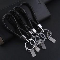 Divat férfi fekete bőr fém kulcstartó kulcstartó kulcstartó kulcstartó ajándék