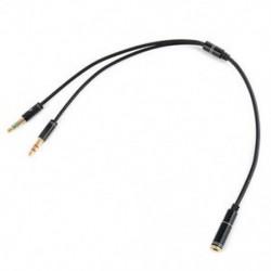 Fekete 3,5 mm-es audió mikrofon Y Splitter kábel fejhallgató adapter női 2 sztereó férfi 1ft J