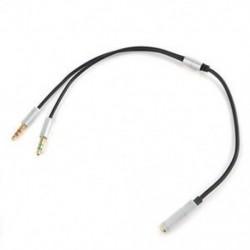 Ezüst 3,5 mm-es audió mikrofon Y Splitter kábel fejhallgató adapter női 2 sztereó férfi 1ft J
