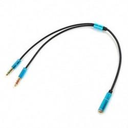 Kék 3,5 mm-es audió mikrofon Y Splitter kábel fejhallgató adapter női 2 sztereó férfi 1ft J