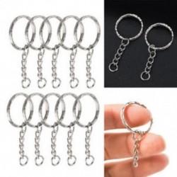 Nagykereskedelmi üres ezüst kulcstartó 4 link lánc kulcsa osztott gyűrűk DIY ékszer készítés