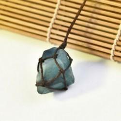 * 2 Természetes fekete turmalin kristály medál drágakő gyógyító kő fonott kötél JP