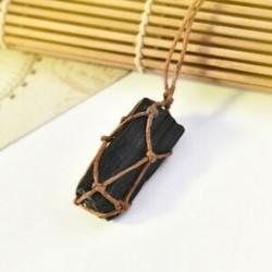 * 4 Természetes fekete turmalin kristály medál drágakő gyógyító kő fonott kötél JP