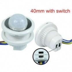 40mm kapcsolóval 5W ~ 200W PIR infravörös test mozgásérzékelő vezérlő kapcsoló Fénylámpa otthoni dekoráció