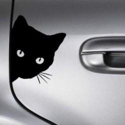 Fekete macska arcpörgetés (15 * 12c ... Vinyl Boat ablak Autó teherautó matrica Vicces / koponya / halászati művészet