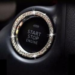 Új autó SUV Bling dekoratív kiegészítők gomb Start kapcsoló ezüst gyémánt gyűrű