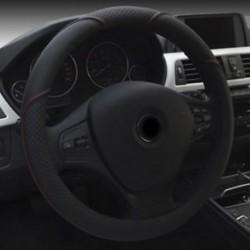15`` / 38cm autó kormánykerék fedél mikroszálas bőr lélegző csúszásgátló fekete
