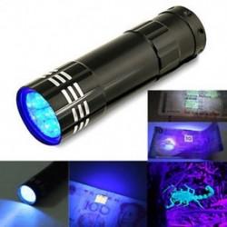 9 LED Mini alumínium UV ultraibolya zseblámpa Blacklight fáklya fény lámpa fekete