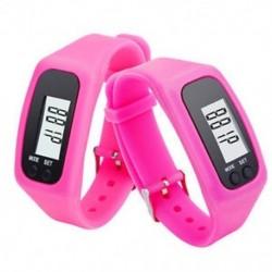 Rózsaszín Digitális LCD lépésszámláló kalória számláló séta futás lépés távolság karkötő néz