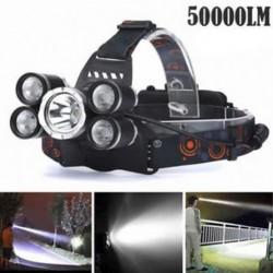 50000LM 5Head XM-L T6 LED 18650 Fényszóró fényszóró Zseblámpa Zseblámpa lámpa