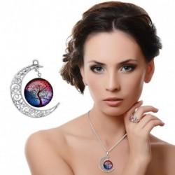1x Üveg életfa medál felhold alakú nyaklánc medál Színes női ékszer kiegészítő