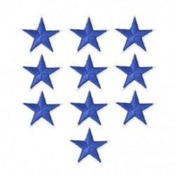 10PCS kék csillag Hímzett varrott vasalat a javításokhoz Jelvényes kalap táska DIY szövetbevonat