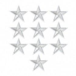 10PCS Silver Star Hímzett varrott vasalat a javításokhoz Jelvényes kalap táska DIY szövetbevonat