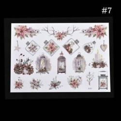 * 7 Karácsonyi Elk / Hóember / Santa Claus Uncut matricák DIY tervező napló album dekoráció