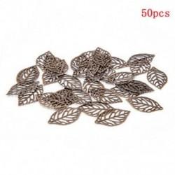 Sötét bronz Rengeteg 50Pcs levelek Filigrán fém medál kézműves ékszerek DIY kiegészítők divat