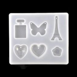 1db-pillangó vegyes minta 1 / 7pcs szilikon öntvény DIY készítése penész gyanta kézműves nyaklánc medál ékszerek