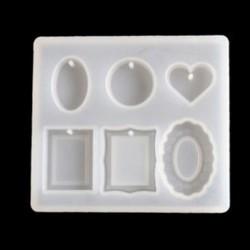 1db szív-vegyes minta 1 / 7pcs szilikon öntvény DIY készítése penész gyanta kézműves nyaklánc medál ékszerek