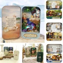 1x DIY Fa Dollhouse babaház Bútor Készlet LED világítás miniatűr  Miniatűr Karácsonyi kirakó játék