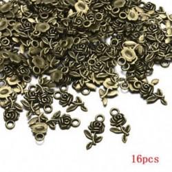 Bronz Rengeteg 16db tibeti ezüst rózsa virágfüggöny medál gyöngyök ékszer készítés DIY
