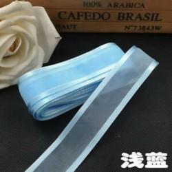 Világoskék DIY 5yds 1 &quot (25mm) Satin Edge Organza szalag íj esküvői dekoráció csipke kézműves