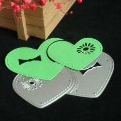1x Fém vágó szív minta Stencil DIY Craft névjegykártya papír kártya Scrapbook hobby dekoráció
