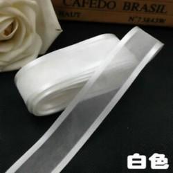 fehér 5yds 1 &quot (25mm) Satin Edge Organza szalag íj esküvői dekoráció DIYLace kézműves