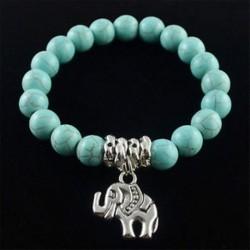 Klasszikus természetes kék türkiz kő gyöngy Tibet ezüst elefánt karkötő ajándék