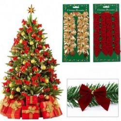 12 db masni nyakkendő arany piros színű fenyőfa karácsfa dísz ünnepi dekoráció