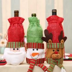 1x Karácsonyi vörösboros sörösüveg palack karácsonyi ünnepi mintás üveg takaró dísz