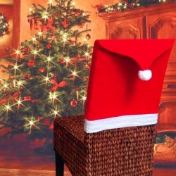 1db Szép karácsonyi szék huzat dekoráció Mikulás Téklapó sapka mintás dekoráció