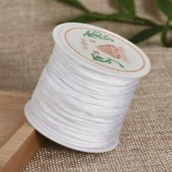 fehér Nylon Cord Thread 0.8mm kínai csomó Macrame Rattail karkötő fonott string 45M